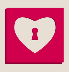 heart with lock sign grayscale version of vector image