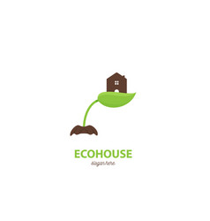 home leaf eco hand logo vector image