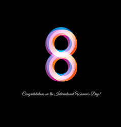 isolated neon pink color number eight icon on vector image vector image