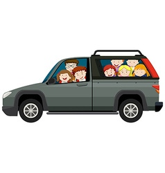 Kids riding on pick up truck vector image
