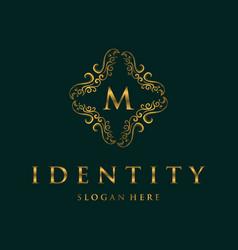 Letter m frame luxury creative business logo vector