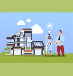 Man and robot shaking hands over smart house vector