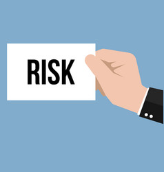 man showing paper risk text vector image