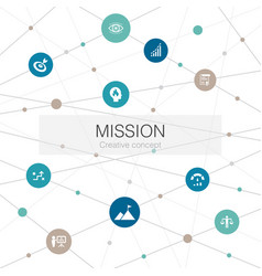 Mission trendy web template with simple icons vector