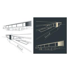 Modern buildings drawings vector