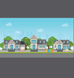 Modern family house with car vector