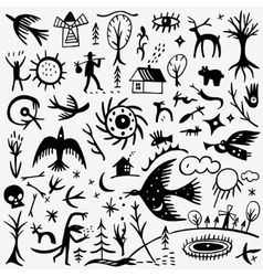 Nature fairy tale doodles vector