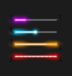 Neon progress bars and loaders vector