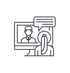 Online negotiations line icon concept online vector