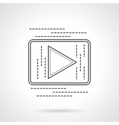 Online video button flat line icon vector image