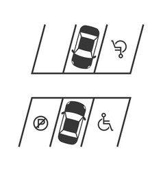 parking lot with disabled sign and no sign vector image
