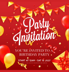 Party invitation festive colorful poster vector