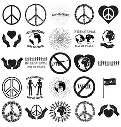 Peace set black icon on white vector