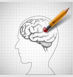 pencil erases the human brain alzheimer disease vector image