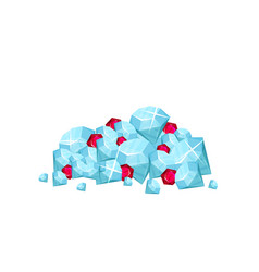 Pile of precious gemstone - blue diamonds and red vector