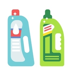 Plastic bottles of cleaning products household vector