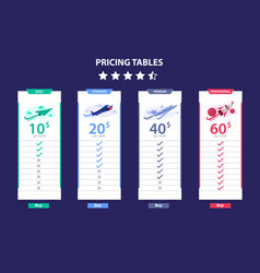 pricing table 4 different plane template dark vector image