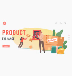 Product exchange landing page template characters vector
