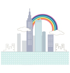Rainbow Cityscape Scene vector image