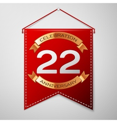 Red pennant with inscription twenty two years vector