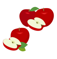 ripe red apple fruit with apple half and apple vector image