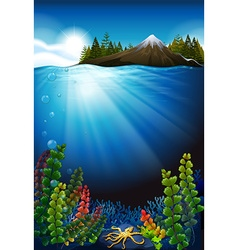 Scene with ocean and the underwater vector image