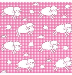Seamless pattern with funny sheeps and clouds vector