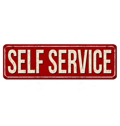 Self service vintage rusty metal sign vector