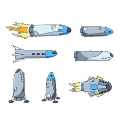 set of of space ship - rocket vector image