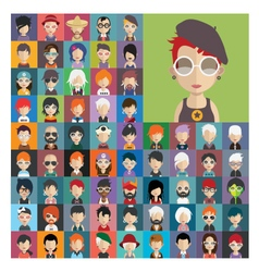 Set of people icons in flat style with faces 22 a vector