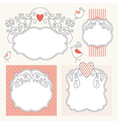 set of romantic frames vector image