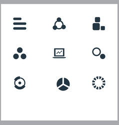 set of simple chart icons vector image