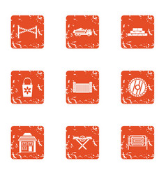 Slog icons set grunge style vector