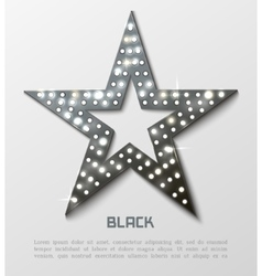 Star retro black metal light banner vector