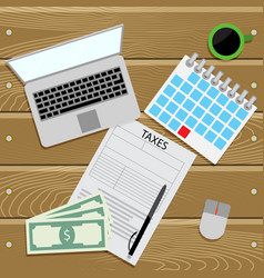 Submit tax return top view vector
