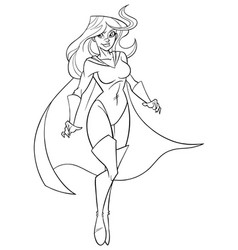 superheroine flying 5 line art vector image