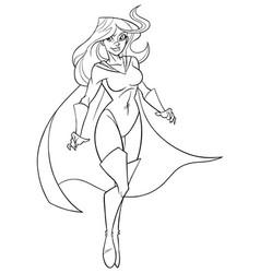 Superheroine flying 5 line art vector