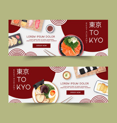 Sushi set for banners contrast watercolor vector