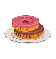 Sweet donuts on dish vector