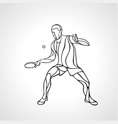 table tennis male player with racket overhead vector image