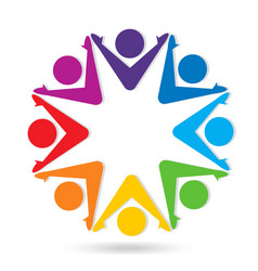 Teamwork group of people star shape icon vector