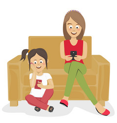 Teenagers girls using their smartphones at home vector