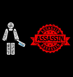 Textured assassin stamp seal and bright web mesh vector