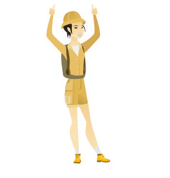 Traveler standing with raised arms up vector