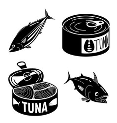Tuna fish icons set simple style vector