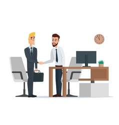Two businessmen in suits are handshaking in the vector image