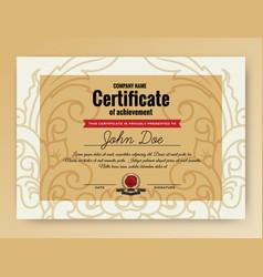 Vintage elegant certificate of achievement vector
