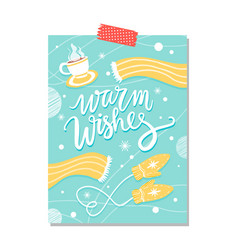 warm wishes blue poster on vector image