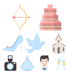 weeding set icons in cartoon style big collection vector image
