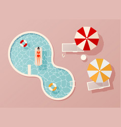 woman in swim suit lying on floating swimming vector image